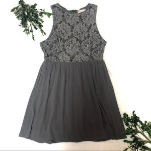 NWOT Altar'd State Boho Gray Lace Dress Medium